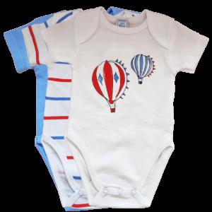 3 Baby Bodys aus 100% Baumwolle mit Muster