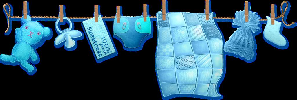 Leos Kindermoden Wäscheleine Illustration blau